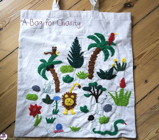 Bestickter Beutel mit Dschungel - Bag for Charity