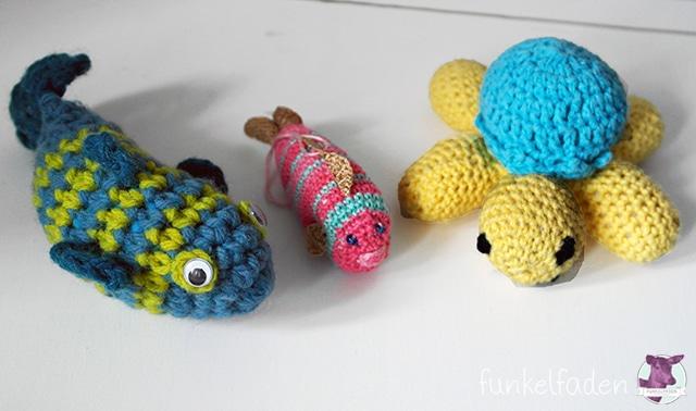 Häkelfisch und Häkelschildkröte
