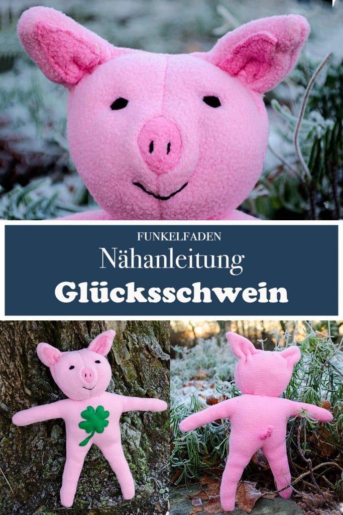 Nähanleitung Kuscheltier Schwein mit Gratis Schnittmuster Glücksschwein