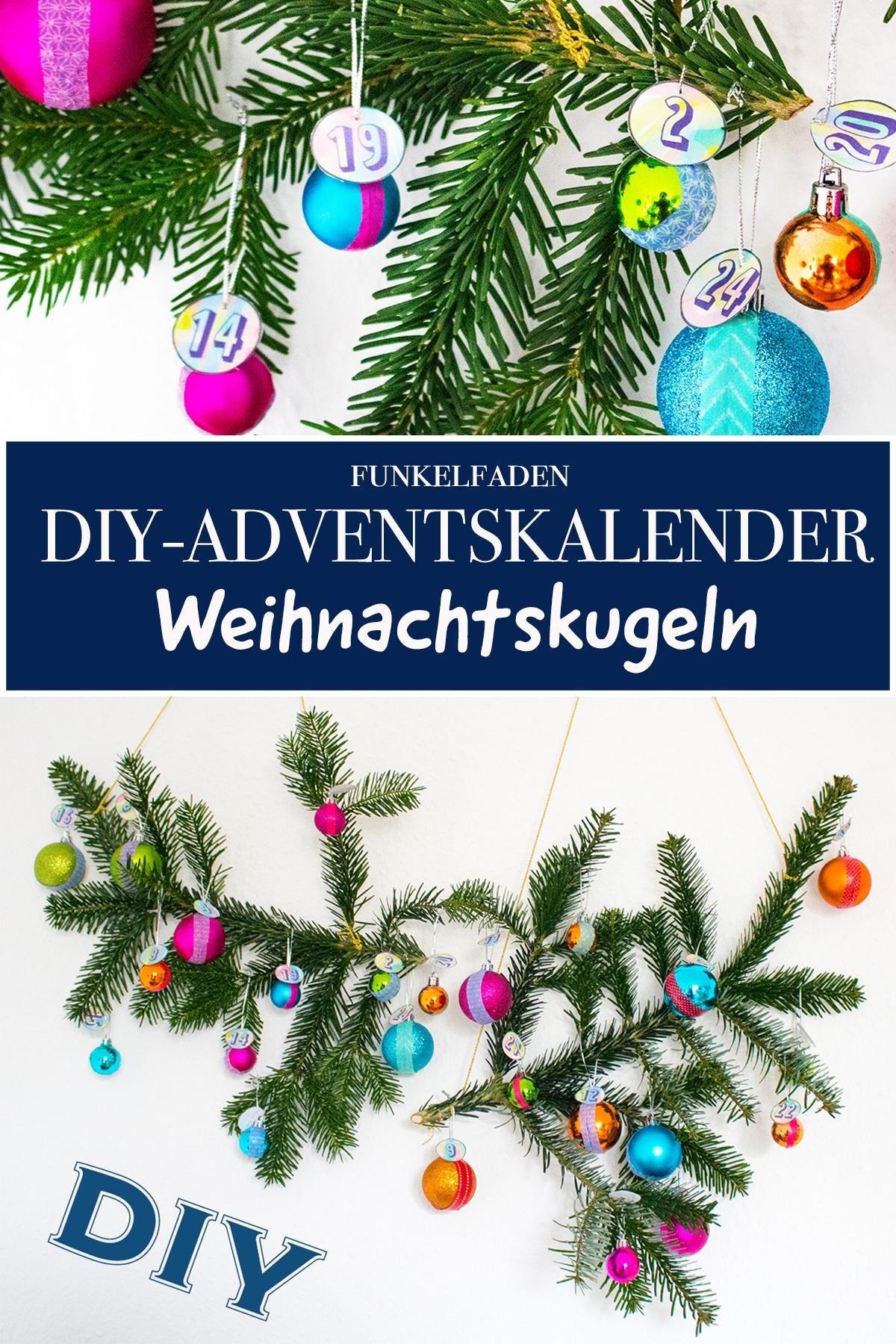 Adventskalender basteln mit Weihnachtskugeln