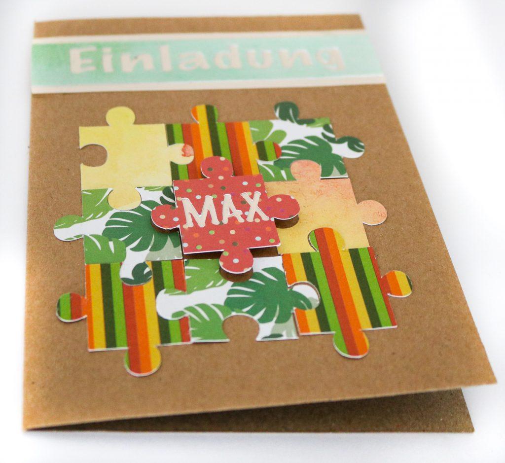 Puzzle - Einladungskarten Selbermachen - Ideen für Einladungskarten zum Geburtstag basteln